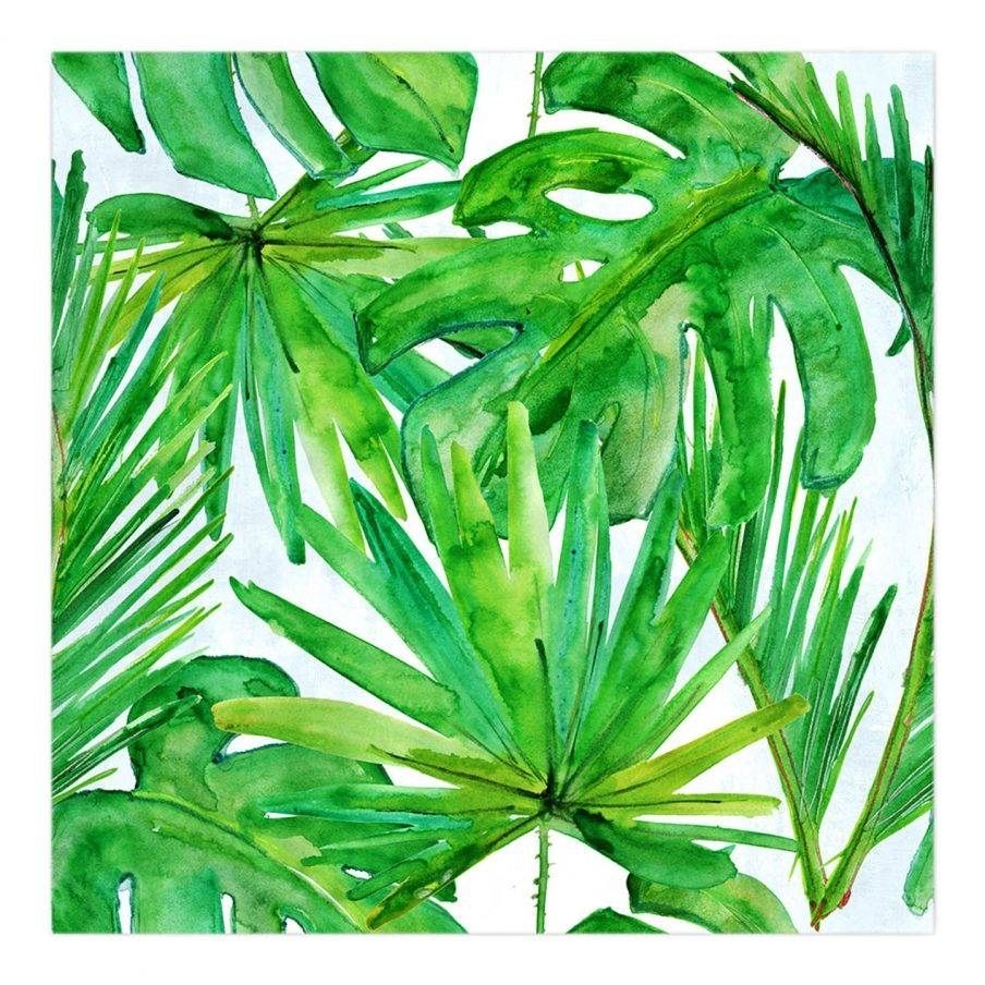 Appealing Leaf Wall Art Stencil Green Palm Leaves Canvas Metal Within Best And Newest Palm Leaf Wall Decor (View 3 of 25)