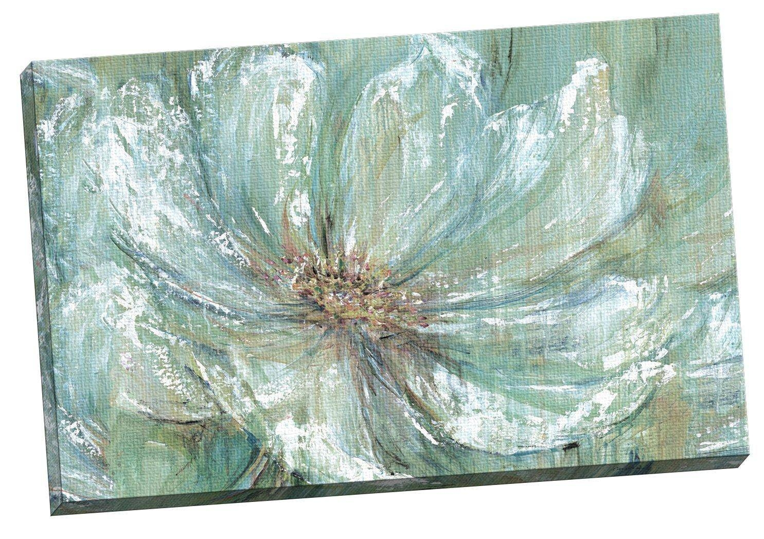 Appealing Teal And Gray Canvas Art Split Canvas Wall Art Wall For Most Recently Released Teal Flower Canvas Wall Art (View 4 of 20)