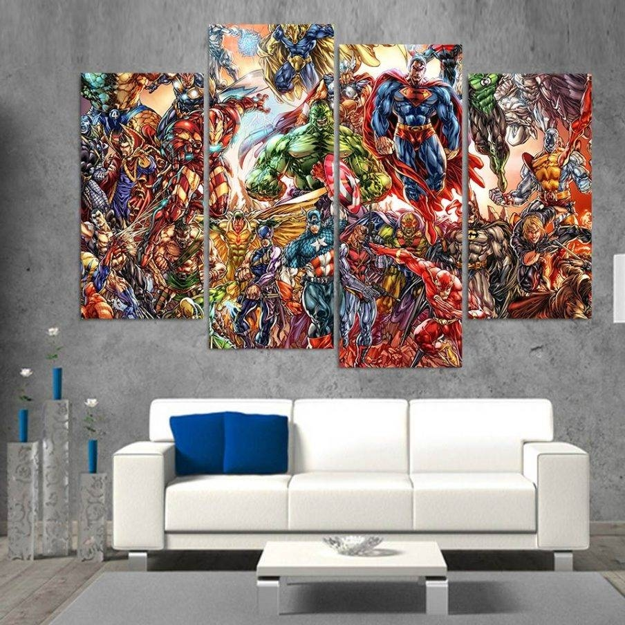 Appealing Wall Decor Marvel Super Heroes Cartoon Marvel 3D Wall Within Recent 3D Wall Art Canvas (View 7 of 20)