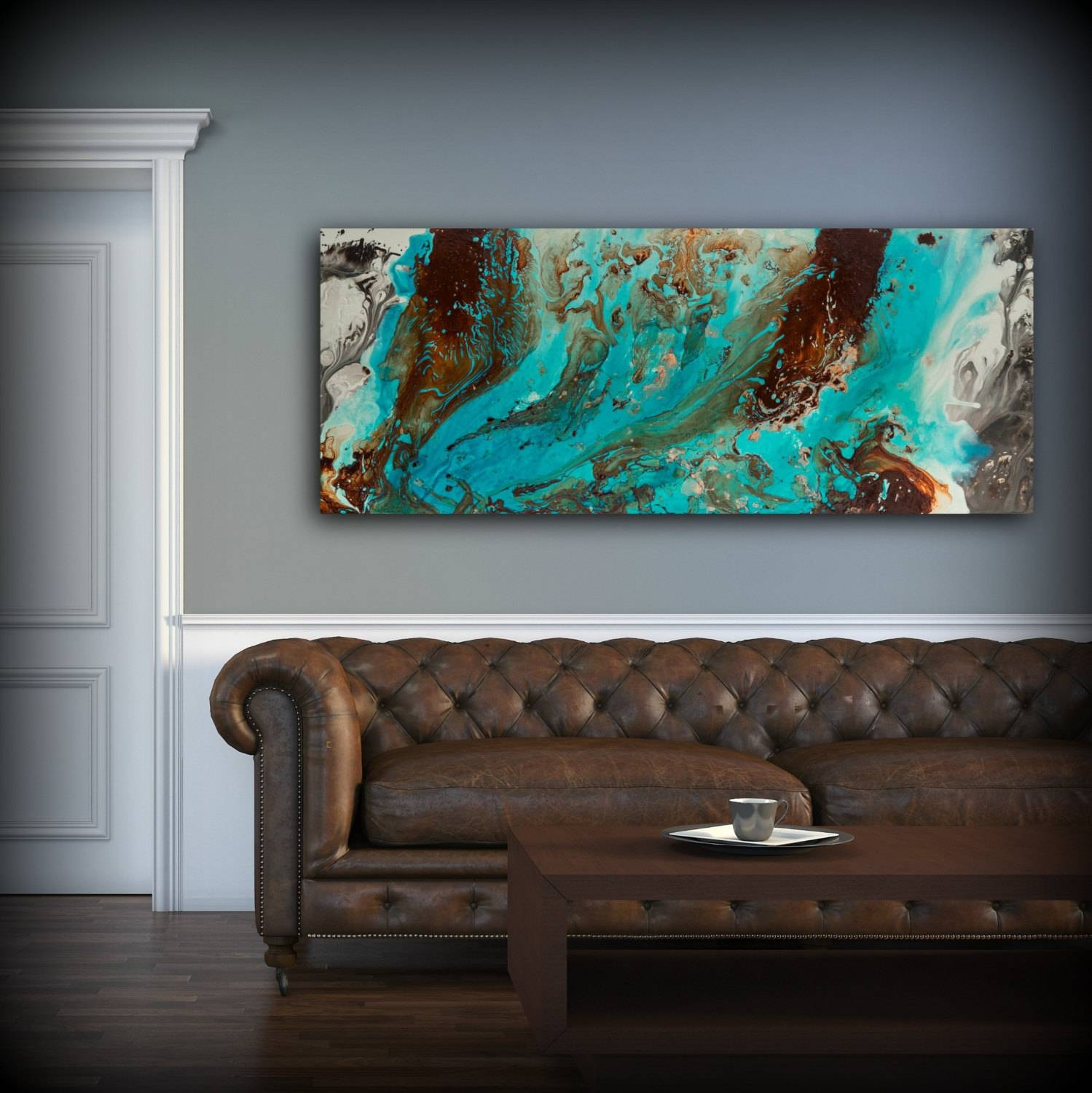 Aqua Print, Blue And Brown Wall Art Decor, Colourful, Bohemian Art Pertaining To Best And Newest Blue Wall Art (View 3 of 20)