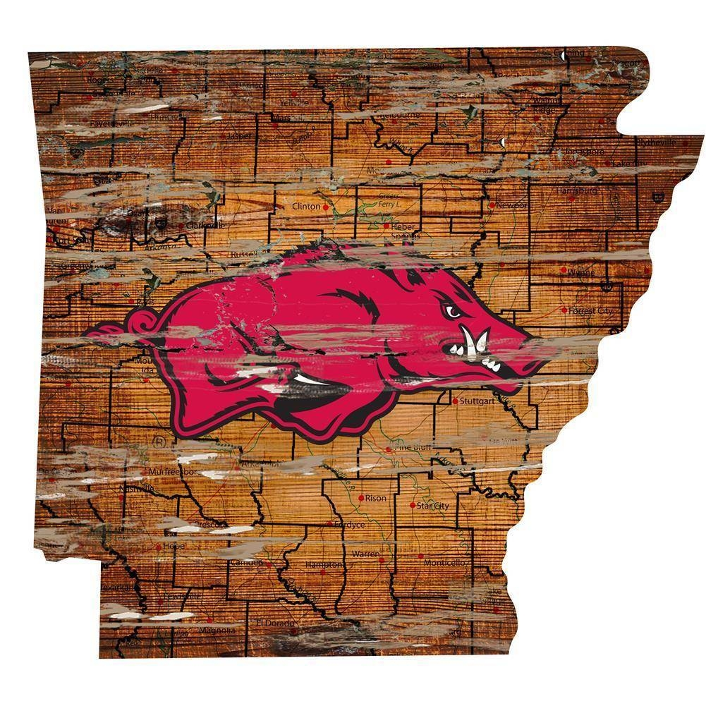 Arkansas Razorback State Map Wall Art Vintage Logo Sign – The Within Current Razorback Wall Art (View 7 of 25)