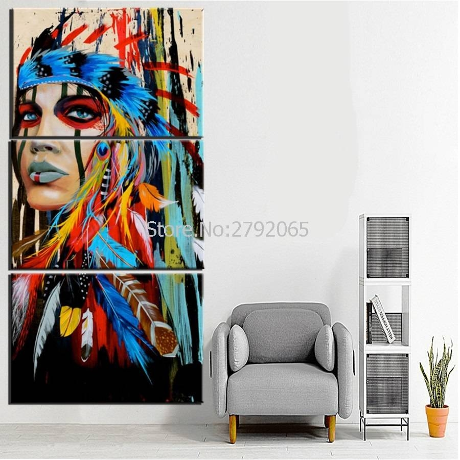 Art Beauty Canvas Painting Indian Native American Native Modern With Regard To 2017 Native American Wall Art (View 14 of 25)