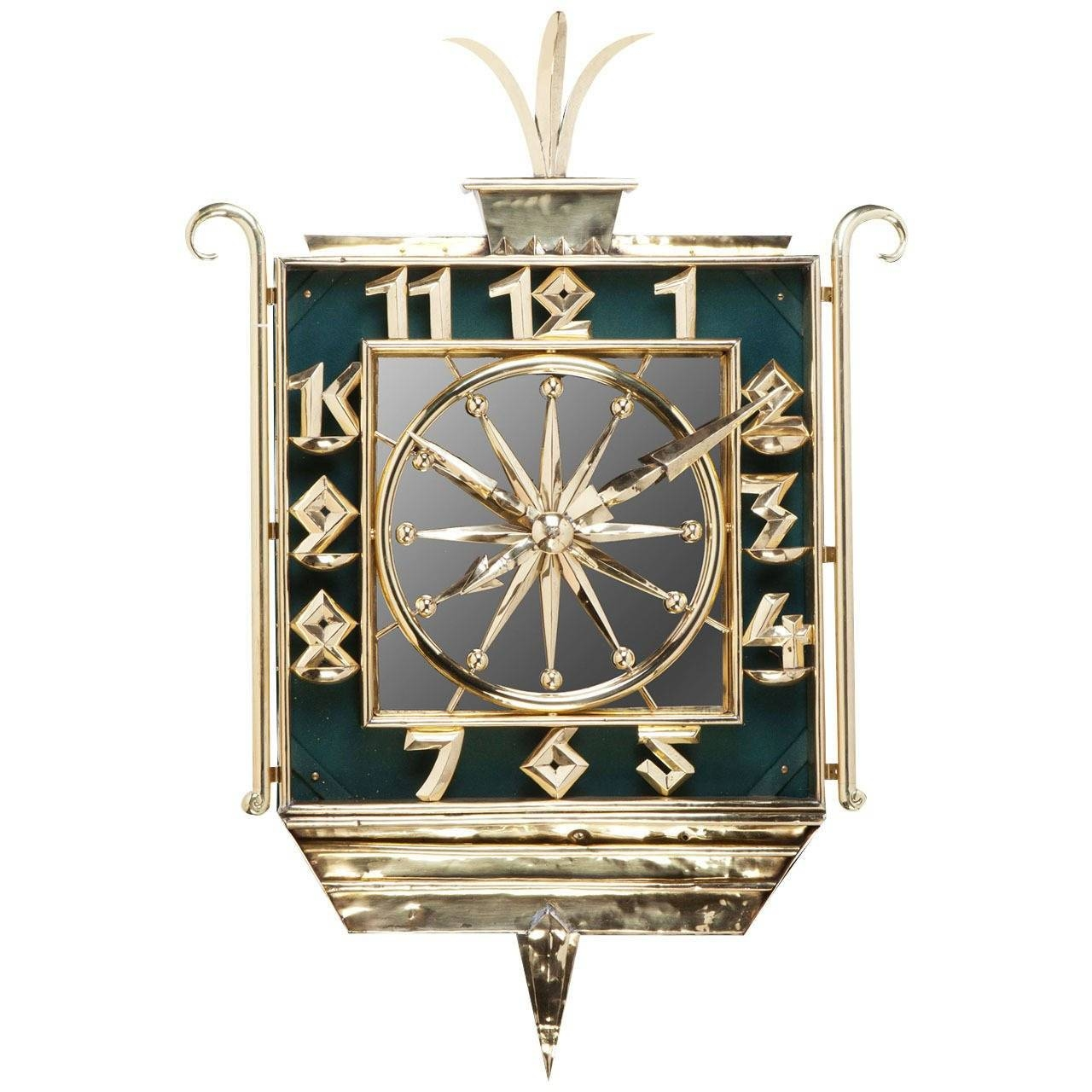 Art Deco Brass And Mirrored Wall Clock At 1Stdibs Pertaining To Best And Newest Art Deco Wall Clocks (Gallery 13 of 25)