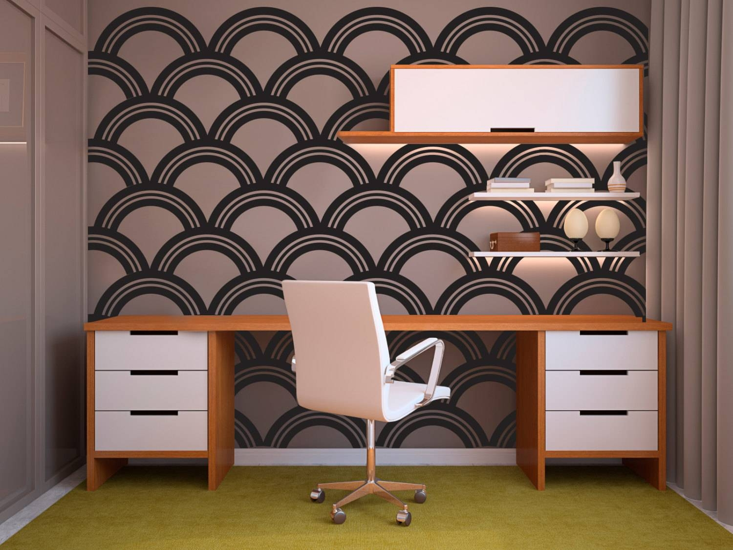 Art Deco Scallop Pattern Decal Wall Decal Custom Vinyl Art In Most Recent Art Nouveau Wall Decals (View 17 of 20)