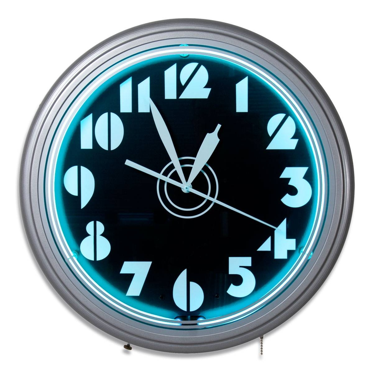 Art Deco Stencil Numbers Neon Wall Clock | Vintage Garage Clocks In Latest Art Deco Wall Clocks (View 5 of 25)