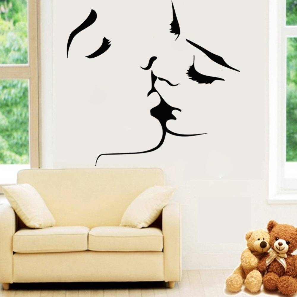 Art Deco Wall Kissing Couples Bedroom Living Room Sofa Background Within Current Art Deco Wall Decals (View 6 of 20)
