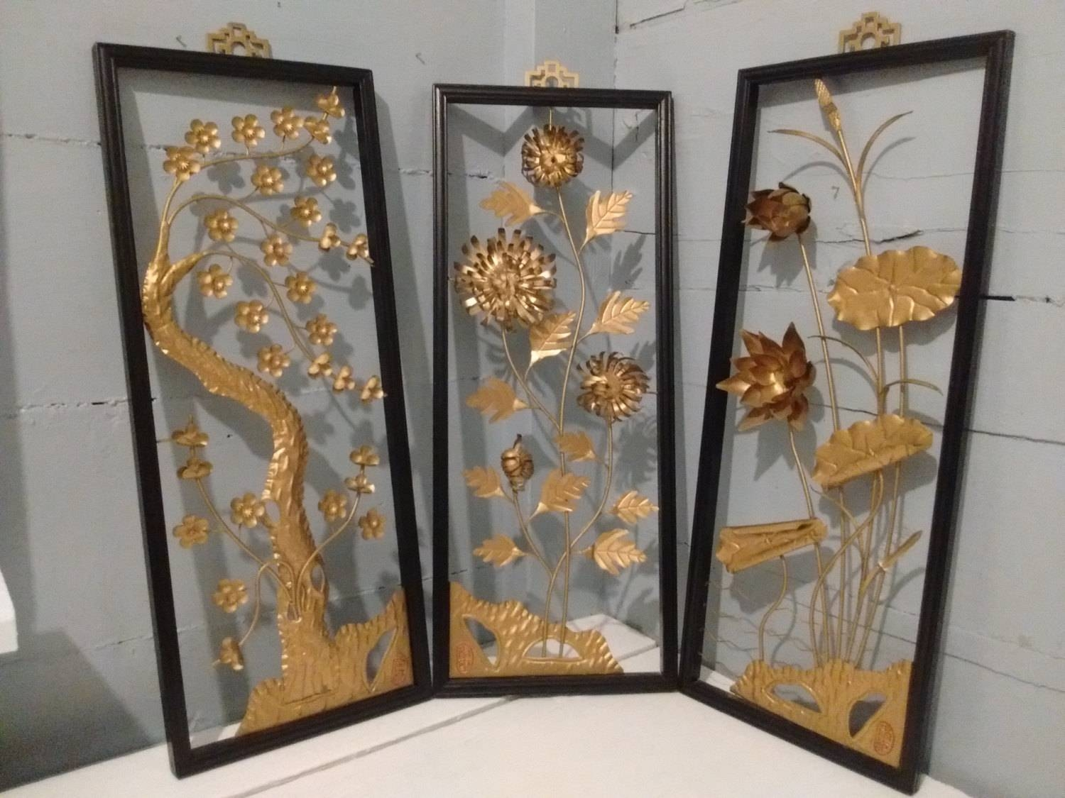 Art, Floral, Framed, 3d, Wall Art, Metal, Sculpture, Set Of 3, Mid Intended For Best And Newest Framed 3d Wall Art (View 15 of 20)
