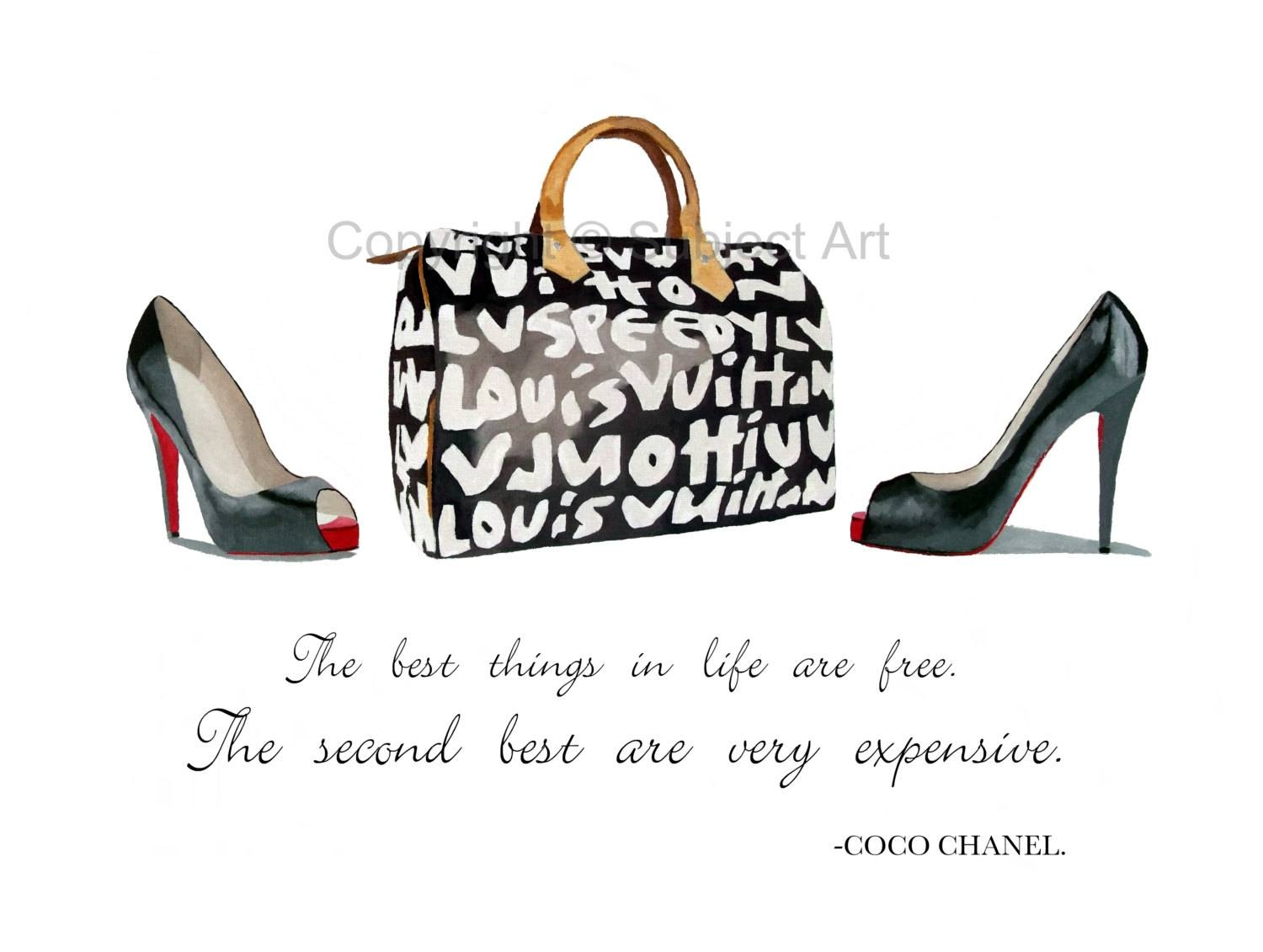 Art Print Of Christian Louboutin Black Shoes Louis Vuitton Regarding 2018 Coco Chanel Quotes Framed Wall Art (View 1 of 30)