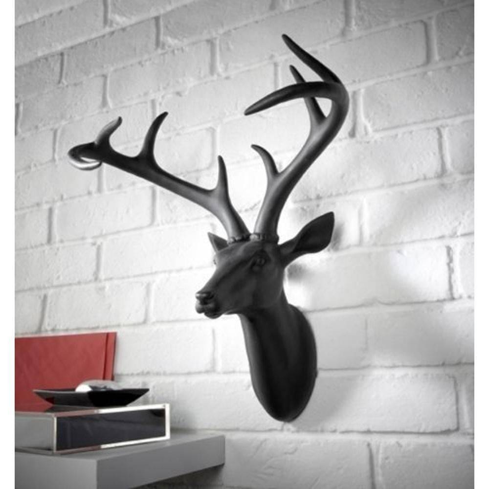Arthouse Deer Stag Head Decorative Mounted Resin Wall Art White With Regard To Most Popular Stag Head Wall Art (View 16 of 20)