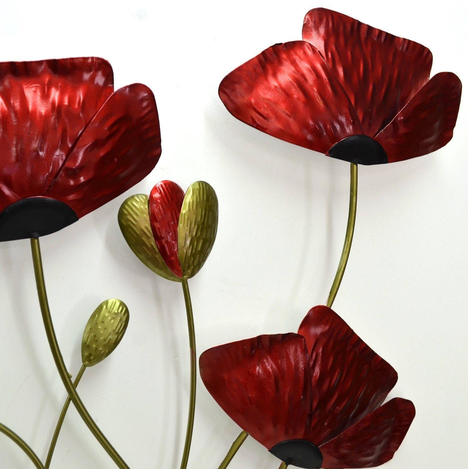 Articles With Poppy Flower Metal Wall Art Tag: Poppy Wall Art Throughout Newest Metal Poppy Wall Art (View 28 of 30)