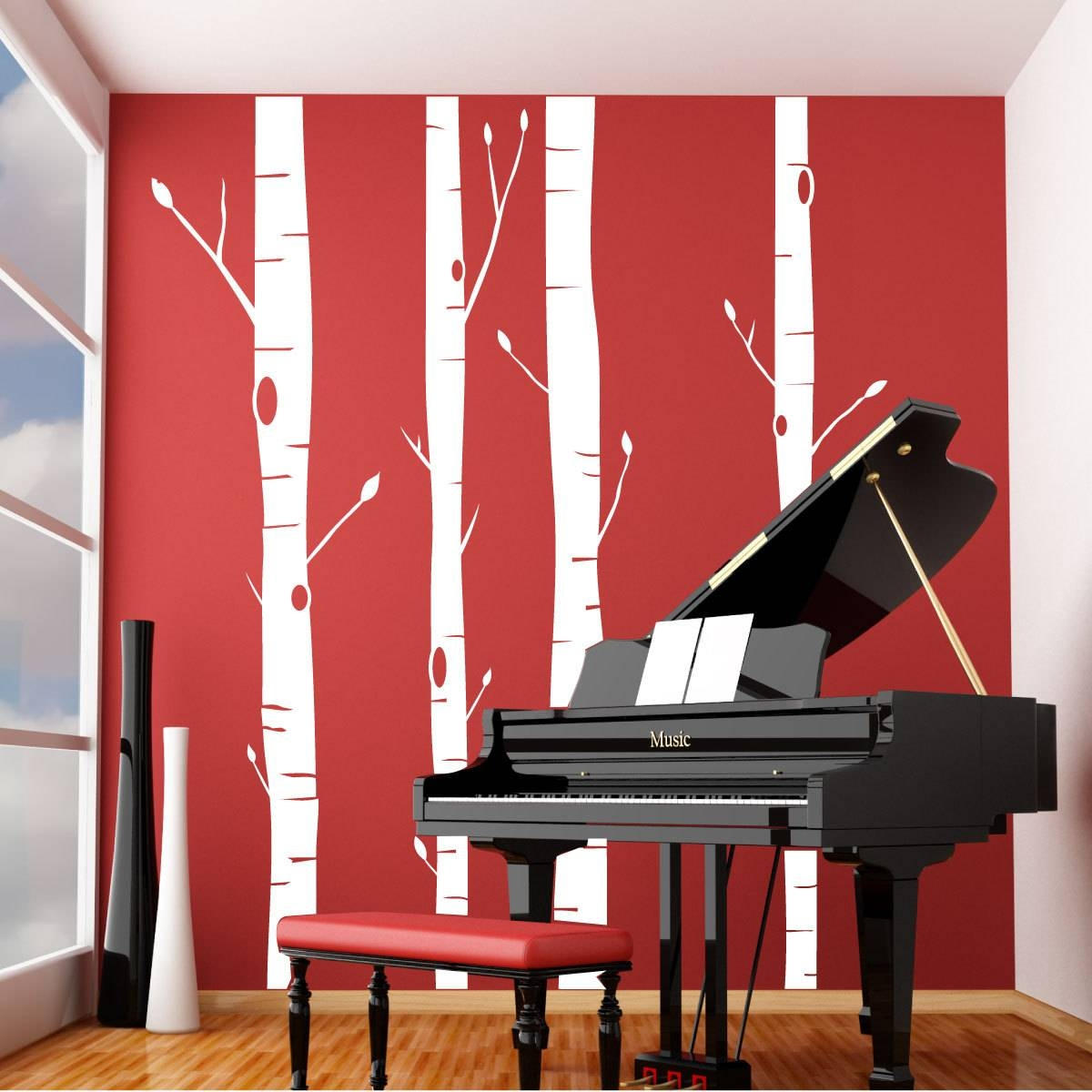 Aspen Trees Vinyl Wall Decal Regarding Latest Aspen Tree Wall Art (View 4 of 20)