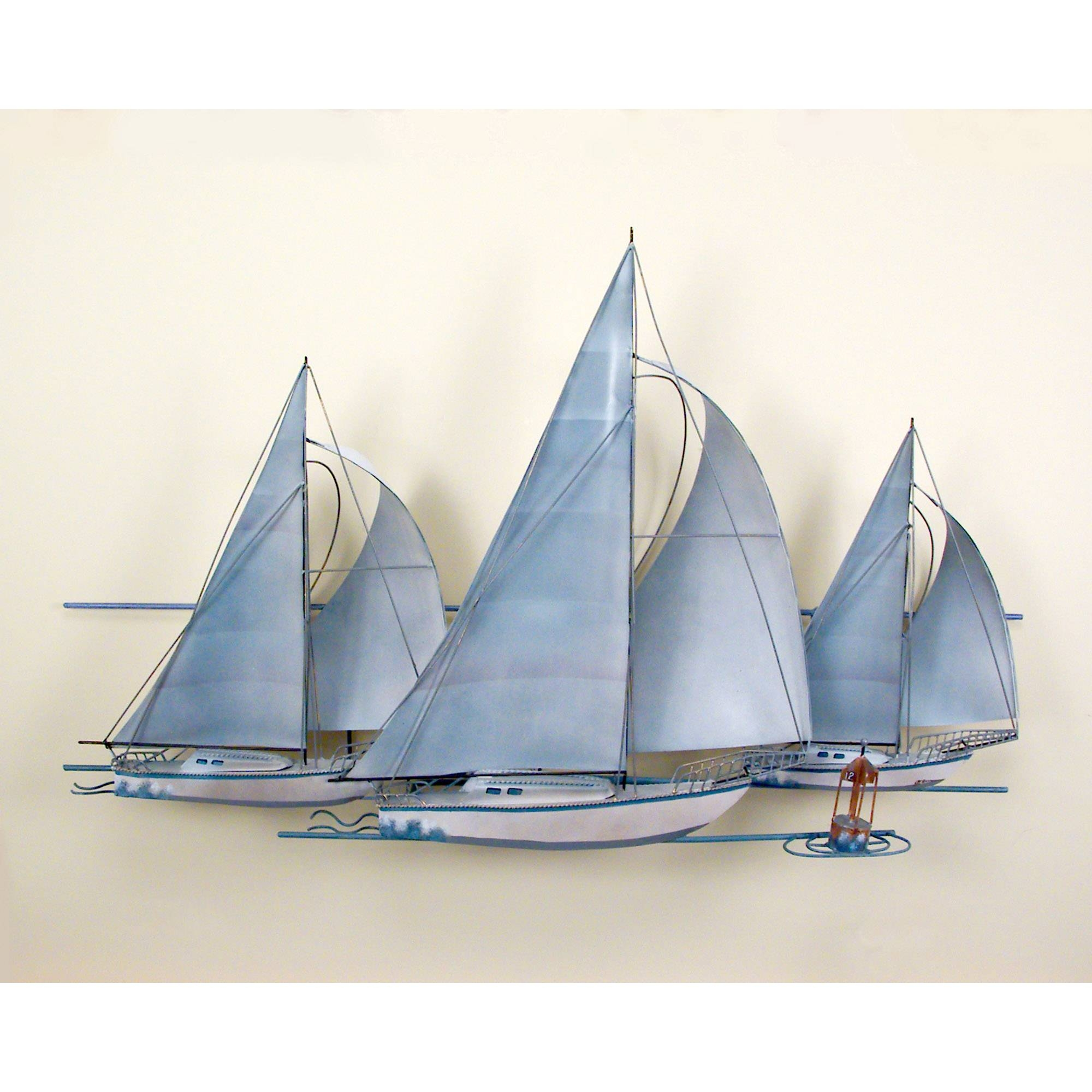 At The Races,three Sail Boats, Race, Wall Art, Wall Hanging Pertaining To Best And Newest Sailboat Metal Wall Art (Gallery 7 of 30)