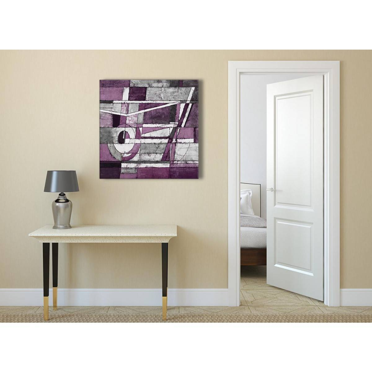 Aubergine Grey White Painting Abstract Office Canvas Pictures For Recent Aubergine Wall Art (View 10 of 20)
