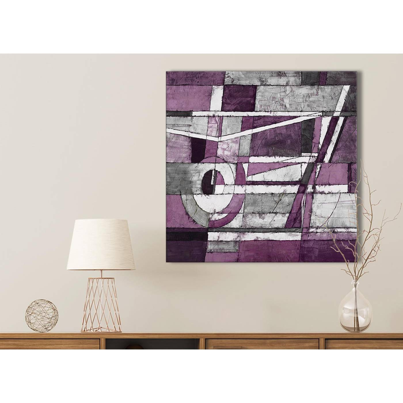 Aubergine Grey White Painting Bathroom Canvas Pictures Accessories For Newest Aubergine Wall Art (View 3 of 20)