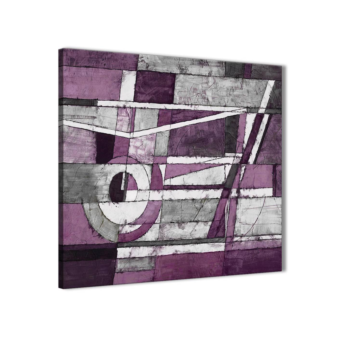 Aubergine Grey White Painting Stairway Canvas Wall Art Decorations In Most Recently Released Aubergine Wall Art (View 5 of 20)
