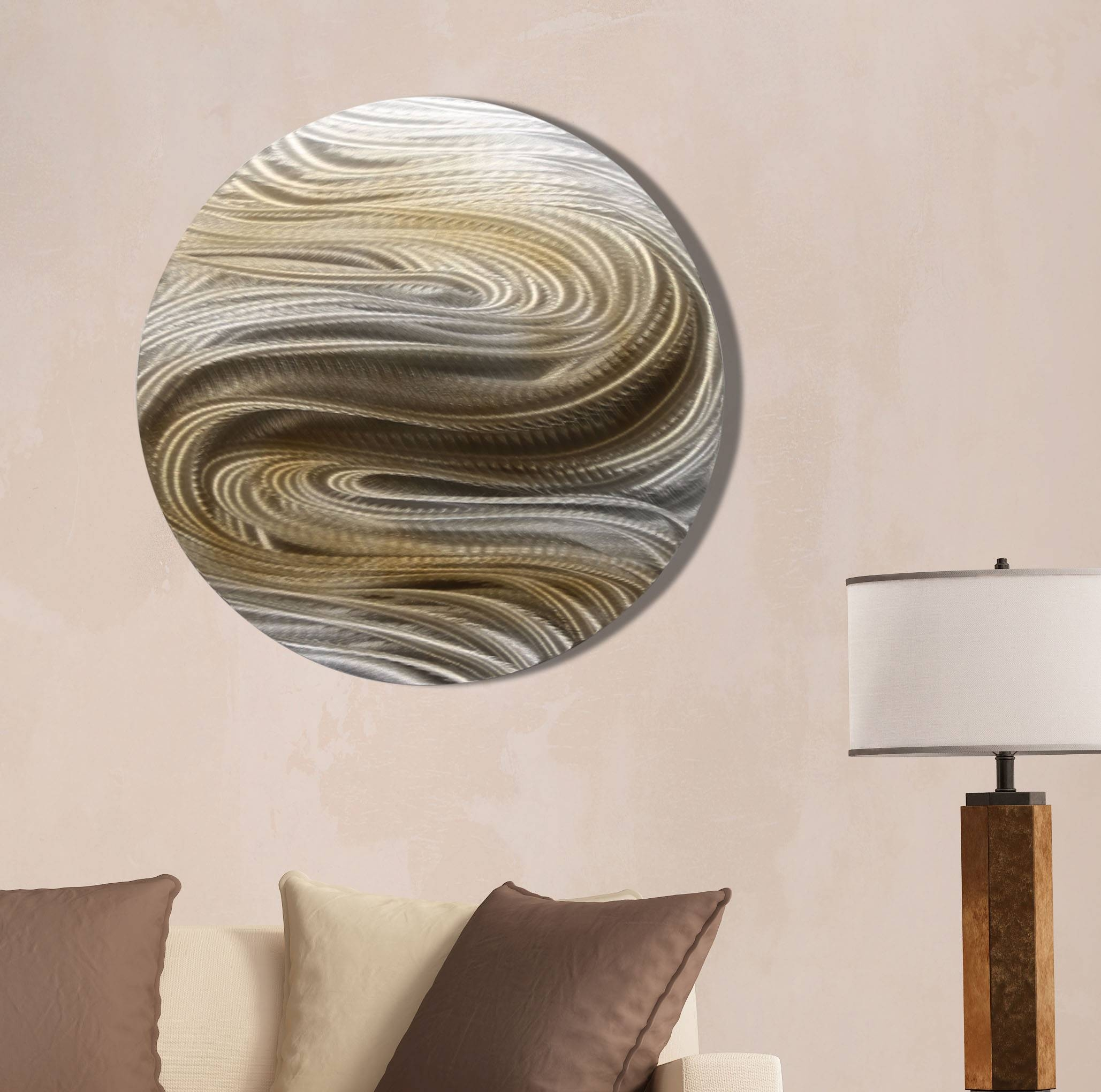 Aurora Stream Brown – Silver & Brown Contemporary Round Metal Wall Throughout 2017 Silver And Gold Wall Art (View 4 of 15)