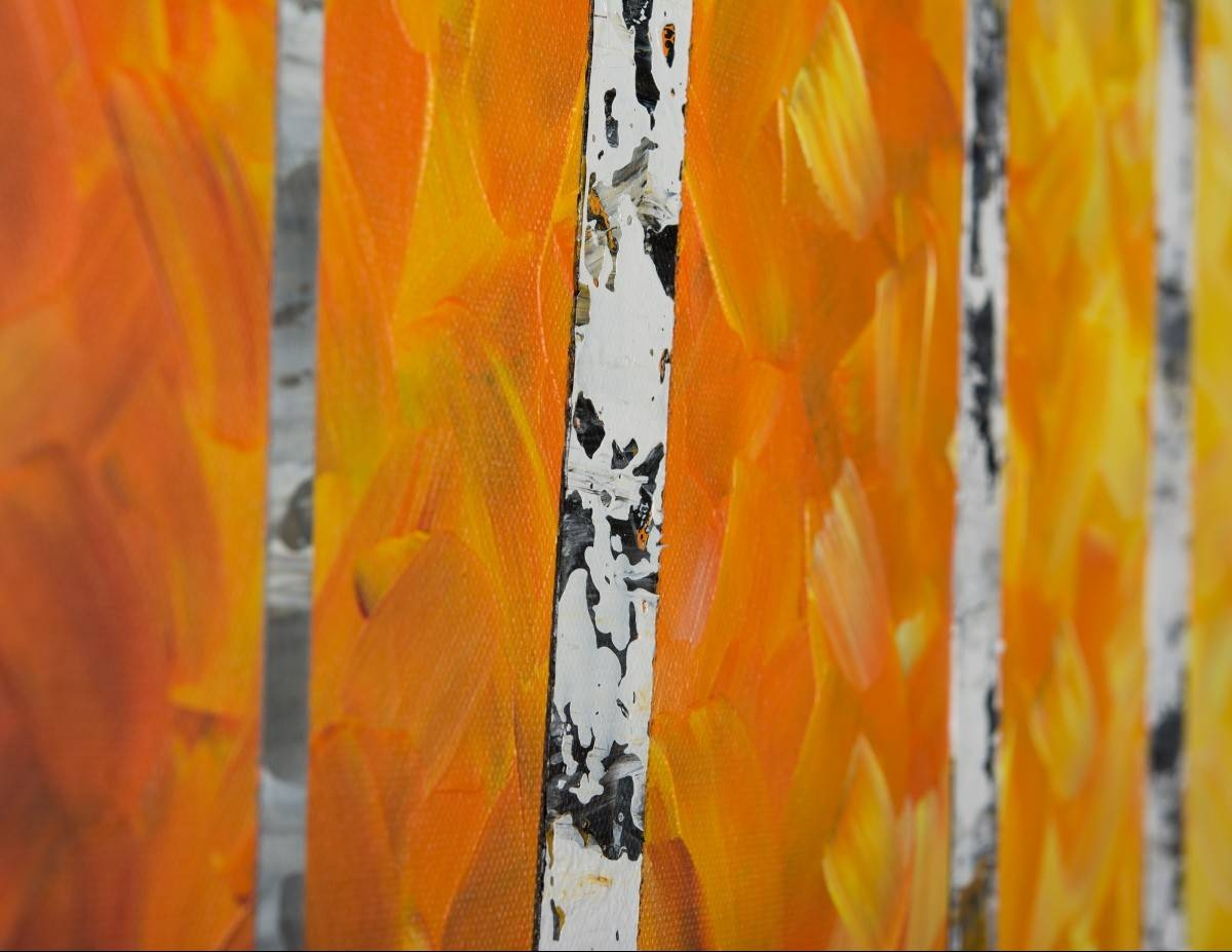 "Autumn Birch Trees Iiqiqigallery 54"" X 24"" Original Oil For Current Yellow And Green Wall Art (View 16 of 20)"