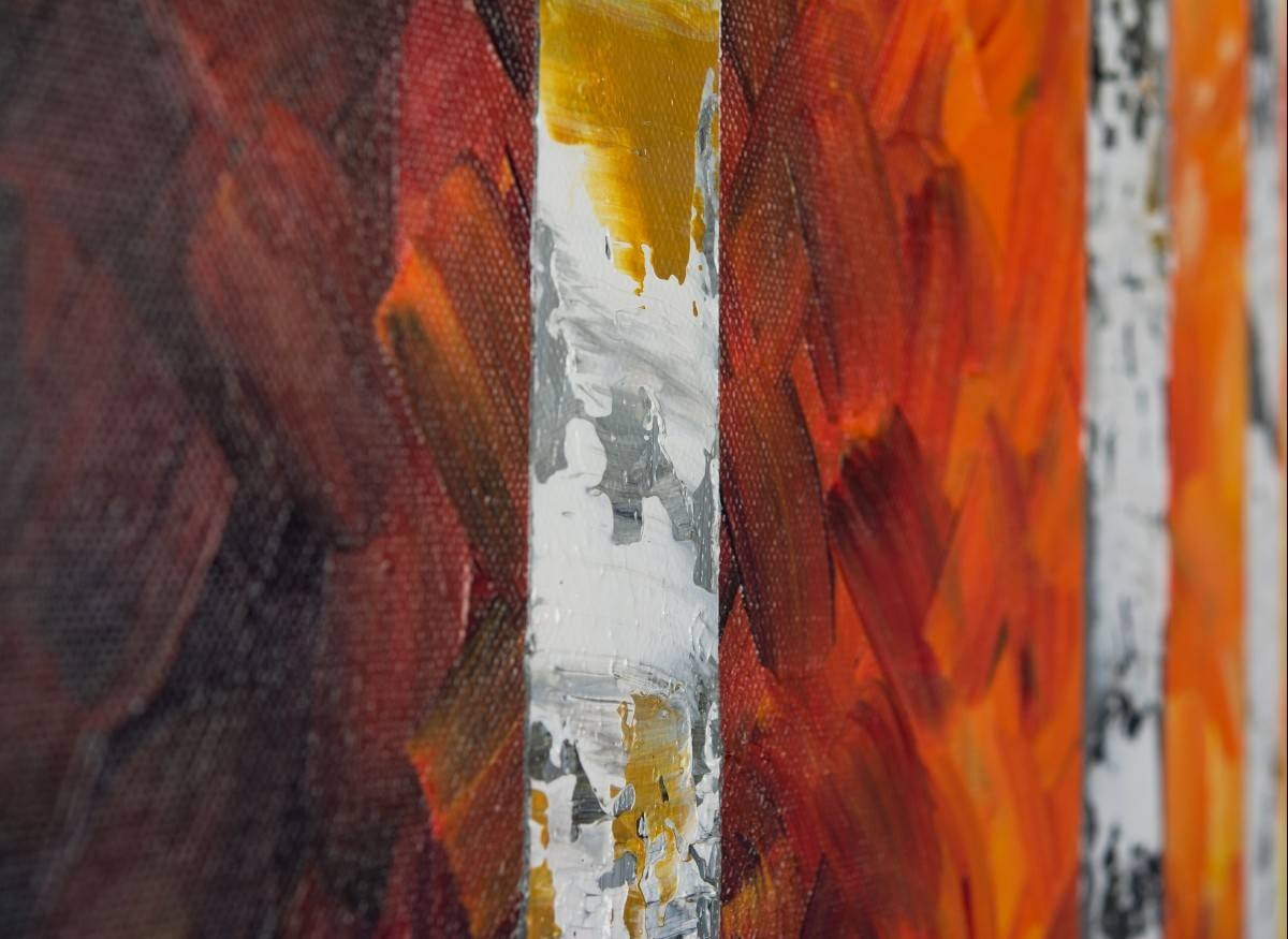 """Autumn Birch Trees Iiqiqigallery 54"""" X 24"""" Original Oil Inside Best And Newest Red And Yellow Wall Art (View 15 of 20)"""
