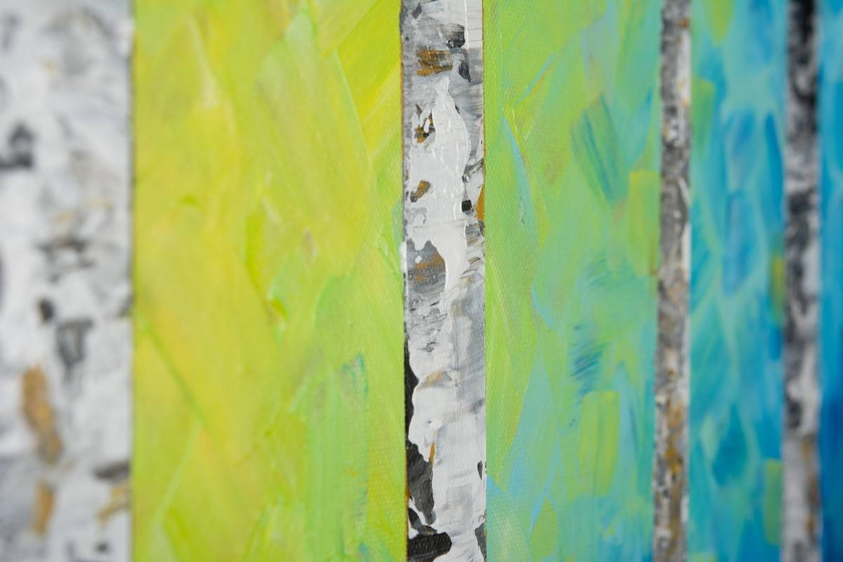 "Autumn Birch Trees Iiqiqigallery 54"" X 24"" Original Oil Regarding Current Blue And Green Wall Art (View 4 of 20)"