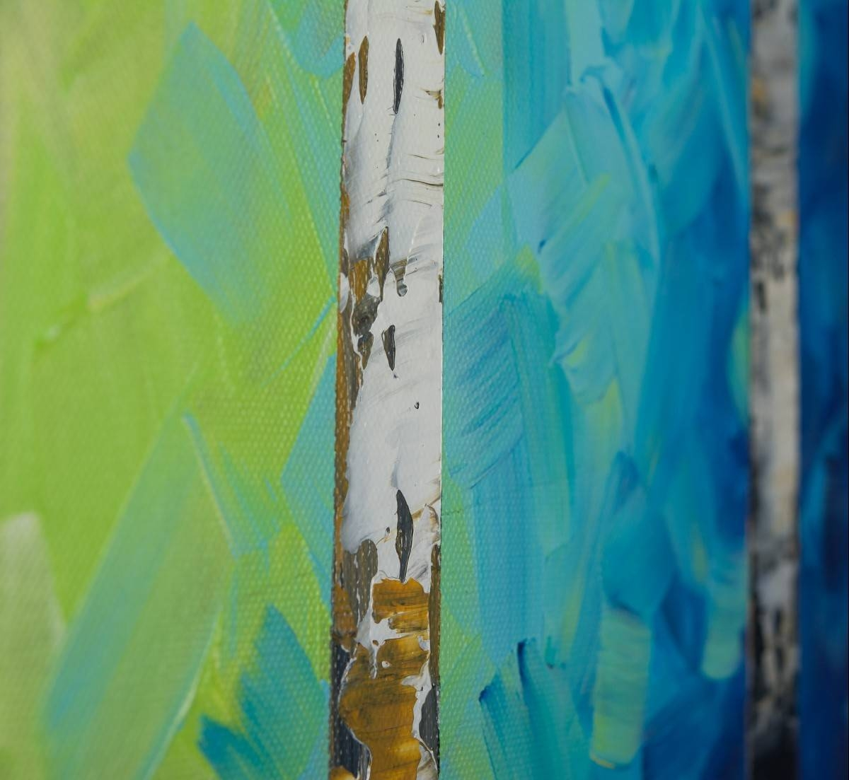 "Autumn Birch Trees Iiqiqigallery 54"" X 24"" Original Oil Throughout Most Recently Released Blue And Green Wall Art (View 6 of 20)"