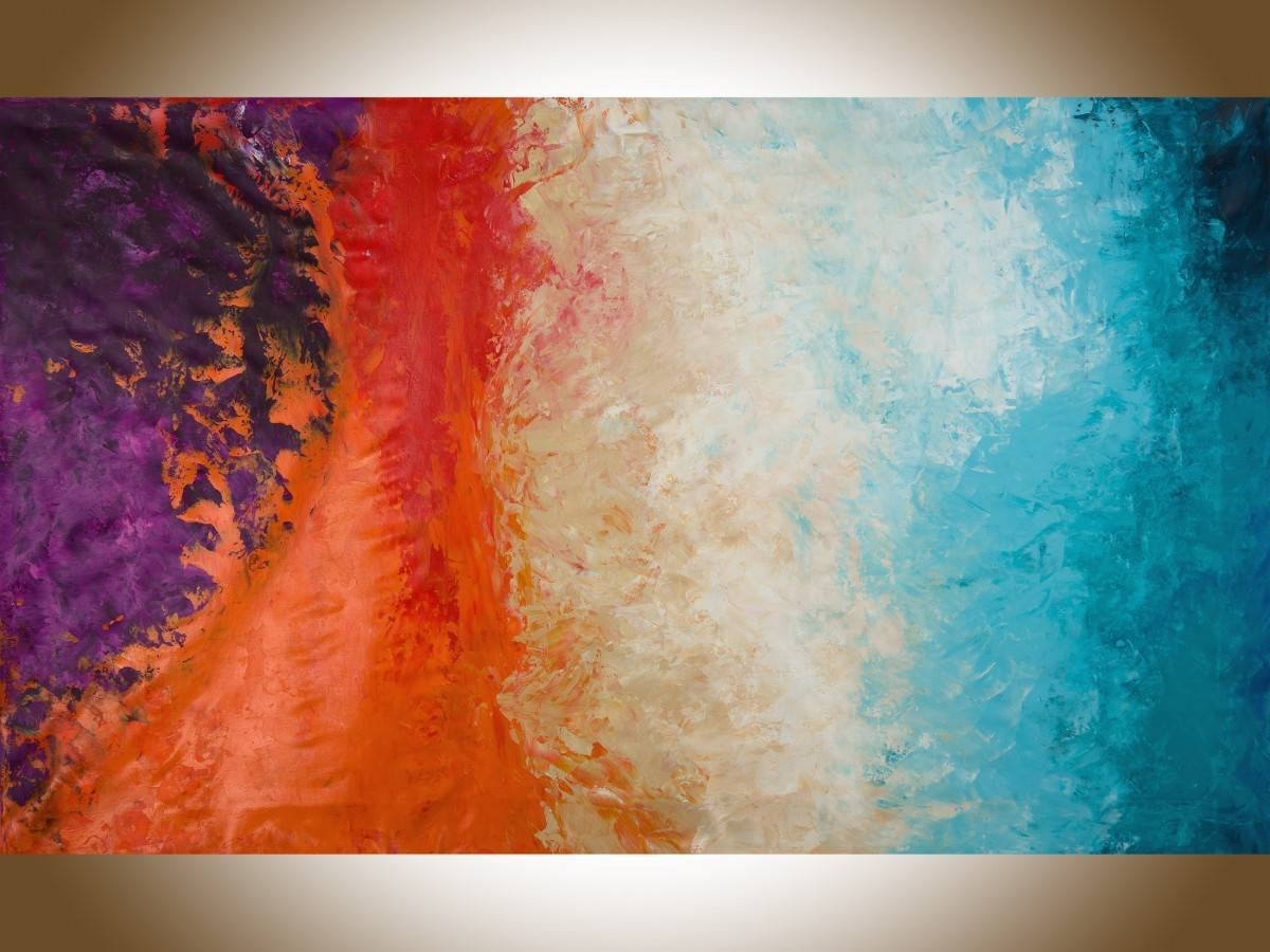 """Autumn Harvestqiqigallery 60""""x36"""" Un Stretched Canvas Original In 2017 Red And Turquoise Wall Art (View 3 of 20)"""