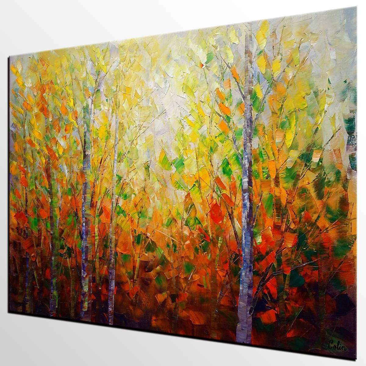 Autumn Tree Painting, Large Wall Art, Landscape Painting, Large In Most Recent Huge Wall Art Canvas (View 4 of 20)