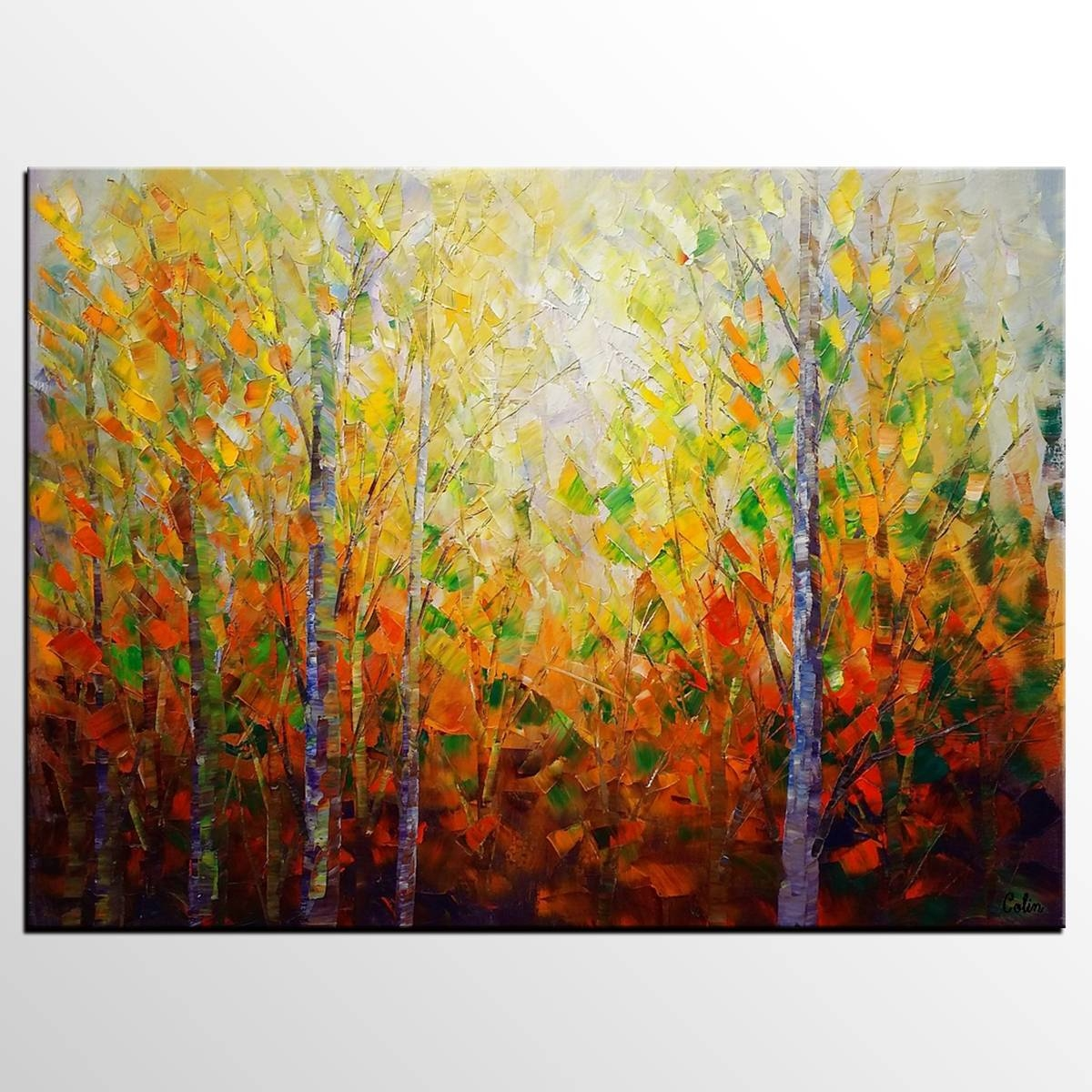 Autumn Tree Painting, Large Wall Art, Landscape Painting, Large Inside Latest Oil Painting Wall Art On Canvas (View 5 of 20)