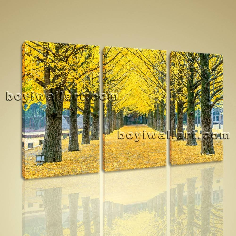 Autumn Tree Park Landscapes Tree Canvas Wall Art Print Ready To Hang Pertaining To Newest Hang Wall Art Prints (View 4 of 15)