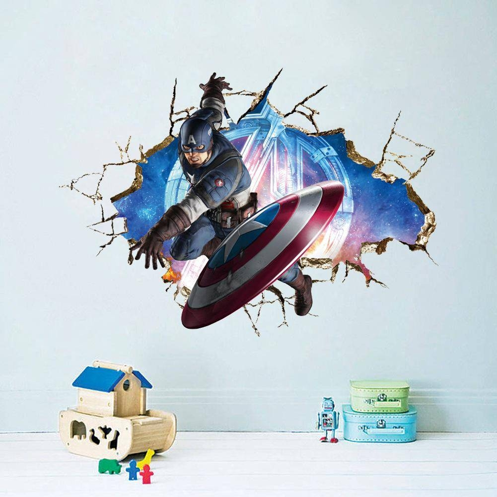 Avengers 3D Through Wall Stickers Decal Art Captain American Crack With Regard To Most Recent Marvel 3D Wall Art (View 8 of 20)