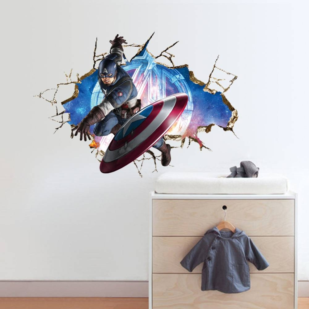 Avengers 3D Through Wall Stickers Decals Art For Baby Nursery Home Intended For 2017 Baby Nursery 3D Wall Art (View 8 of 20)