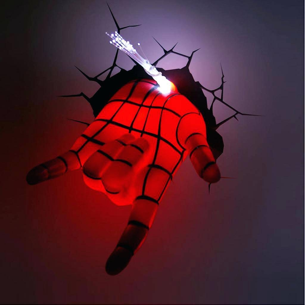 Avengers 3D Wall Lights Marvel Spider Man Hand Led Night Light Art Throughout Most Current Avengers 3D Wall Art (View 7 of 20)