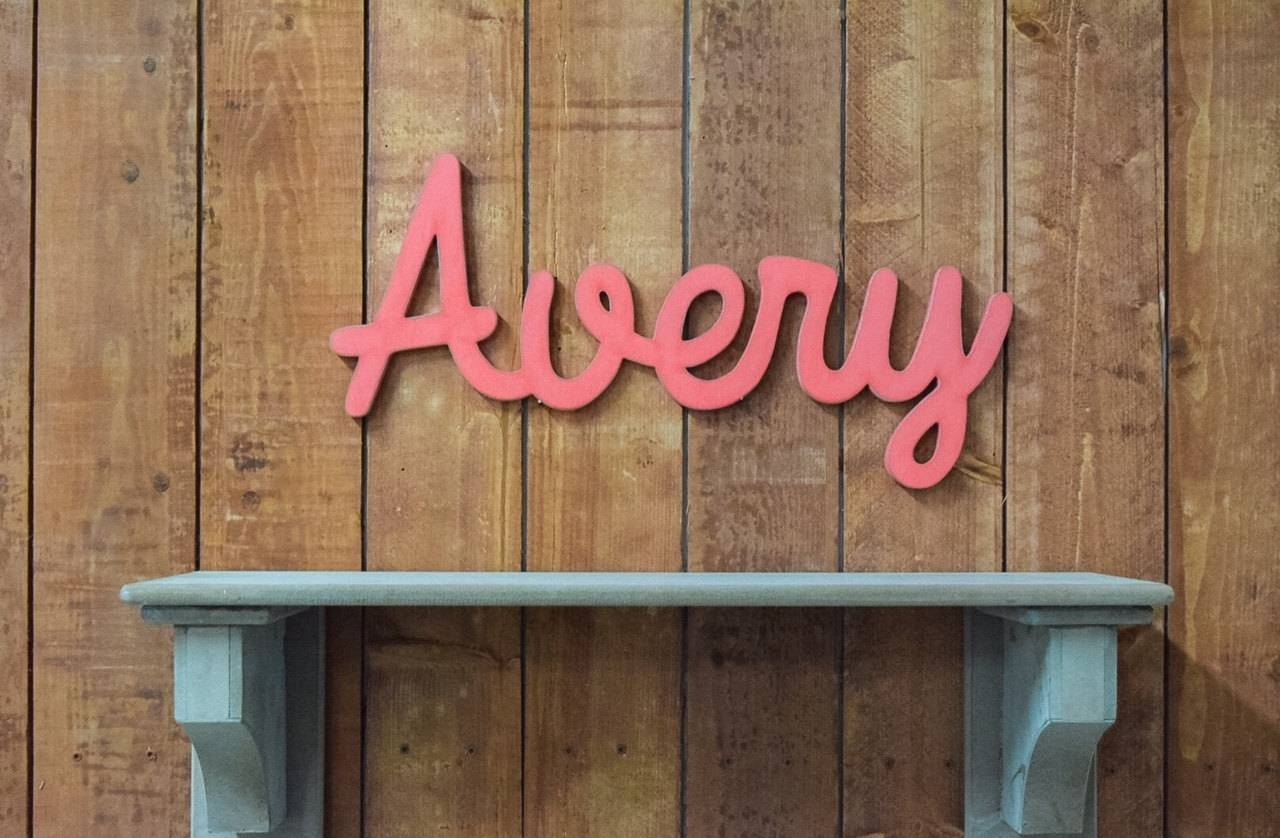 Avery Wooden Baby Name Sign Nursery Wall Art Rustic Nursery With Most Current Personalized Baby Wall Art (View 18 of 20)