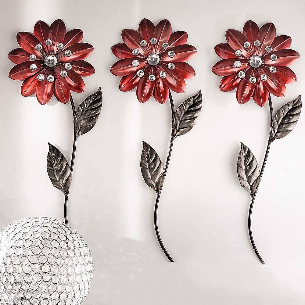 Awesome Metal Wall Art Red Flowers Large Image For Compact Trendy Inside Most Current Red Flower Metal Wall Art (View 1 of 25)