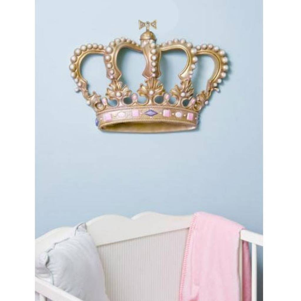 Beautiful B3D Crowns Main2 L Crown Wall Decor Perfect Crown Wall Decor For Recent 3D  Princess Crown