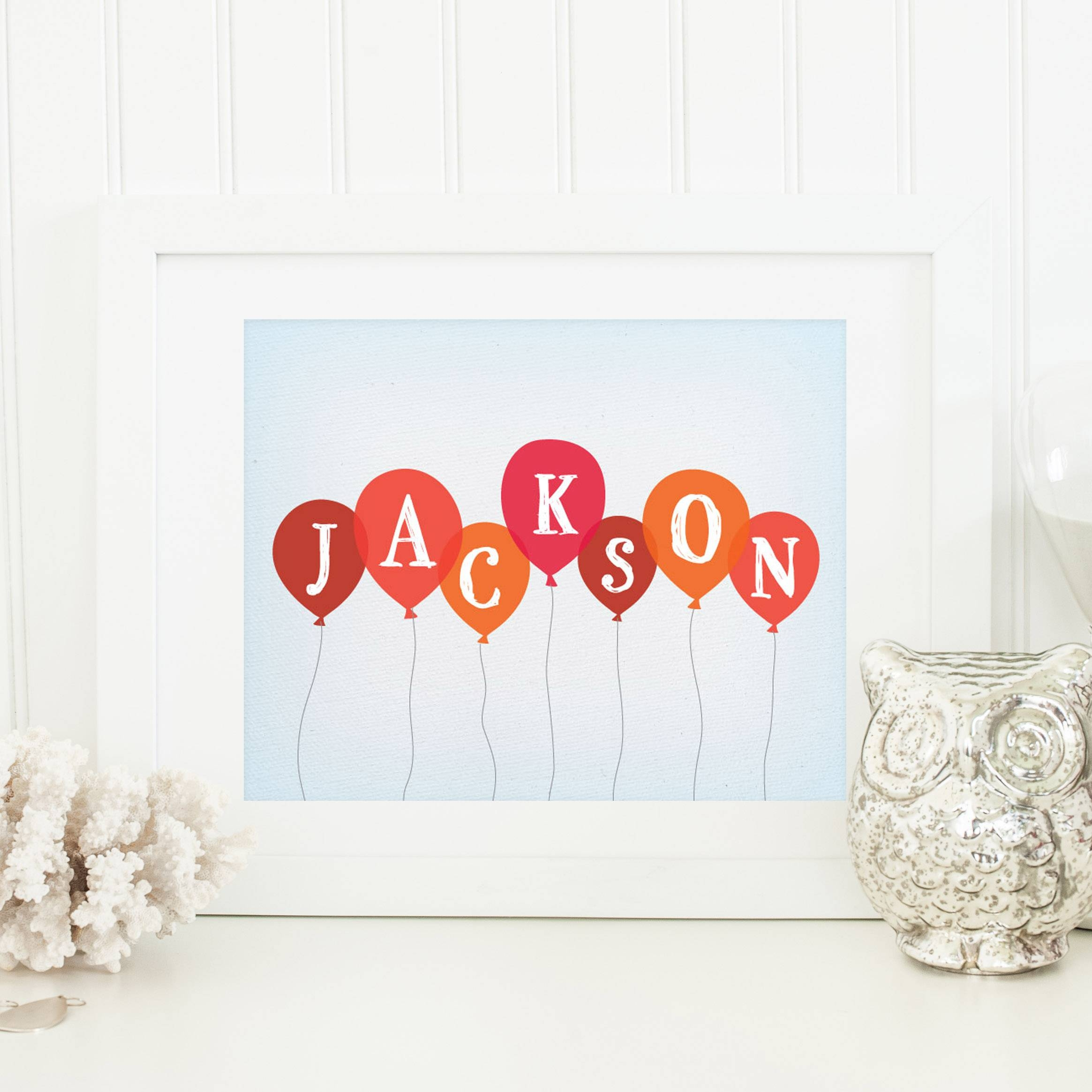 Baby Balloon Art Print Regarding Newest Personalized Nursery Wall Art (View 14 of 20)