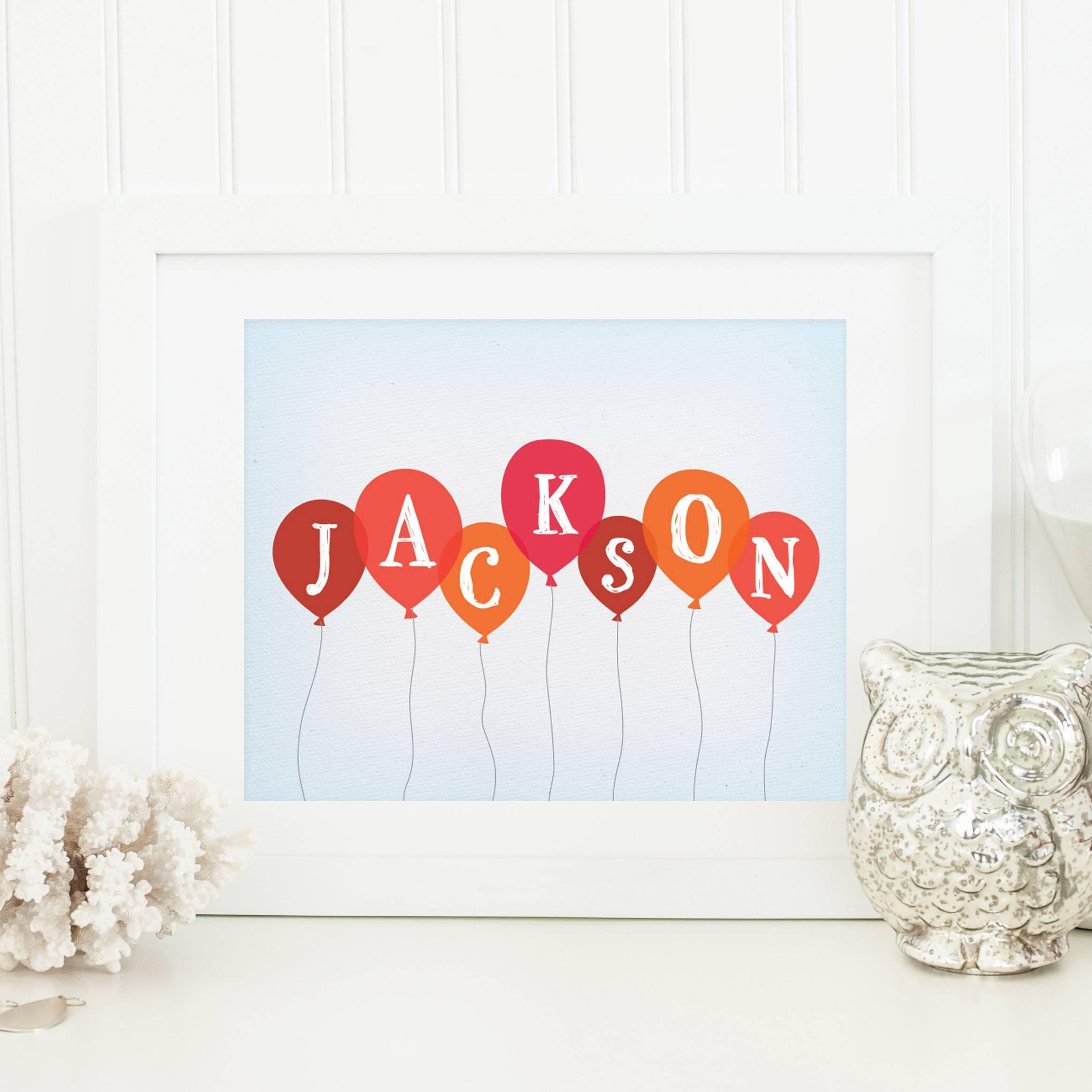 Baby Balloon Art Print Regarding Newest Personalized Nursery Wall Art (View 2 of 20)