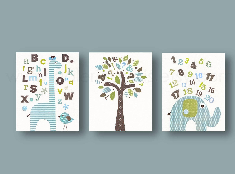 Baby Boy Nursery Decor Art Abc Nursery Wall Art Home Décor With Most Current Nursery Wall Art (View 3 of 20)