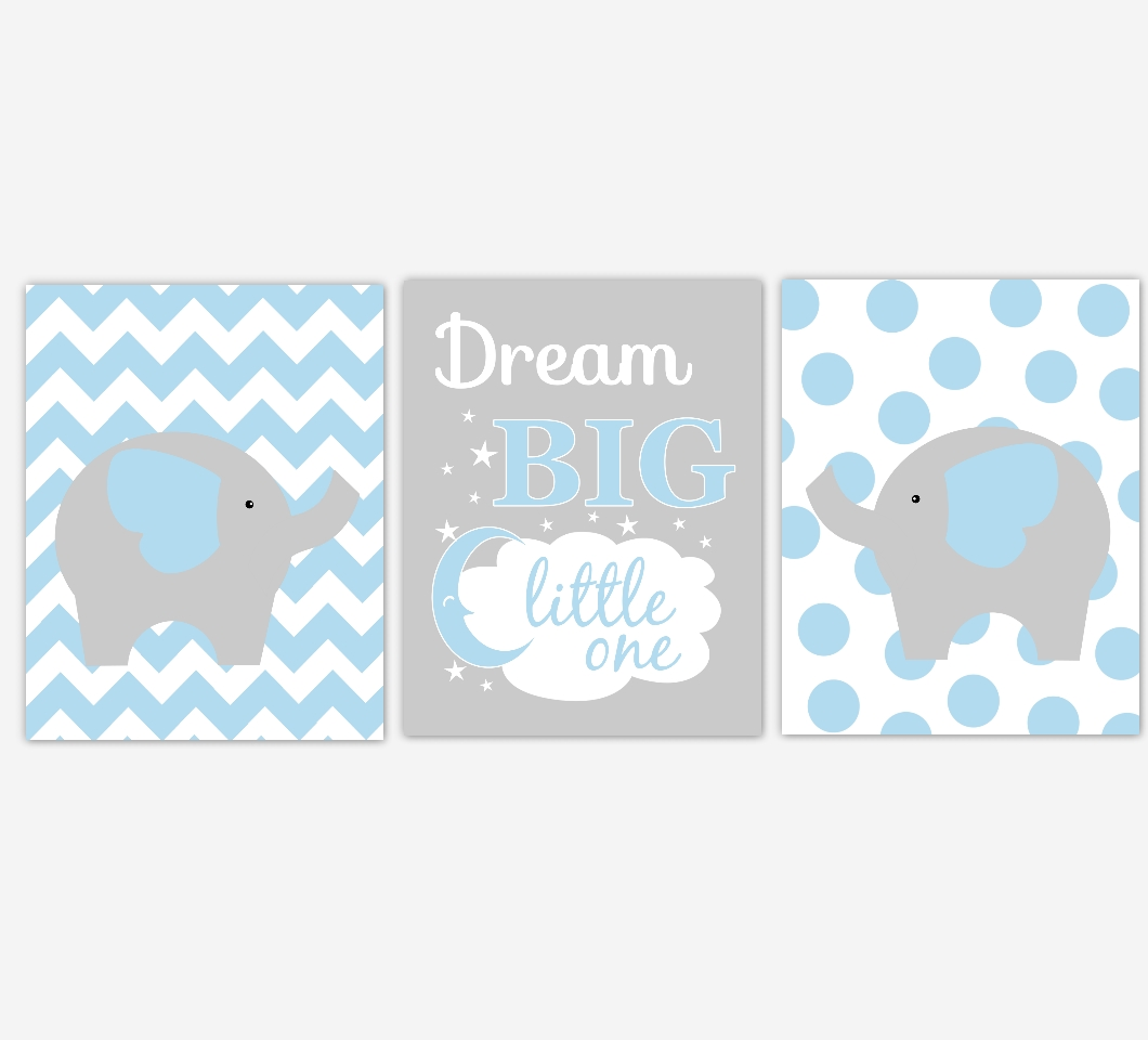 Baby Boys Nursery Canvas Wall Art Blue Gray Grey Dream Big Little Pertaining To Most Recent Canvas Prints For Baby Nursery (View 7 of 20)