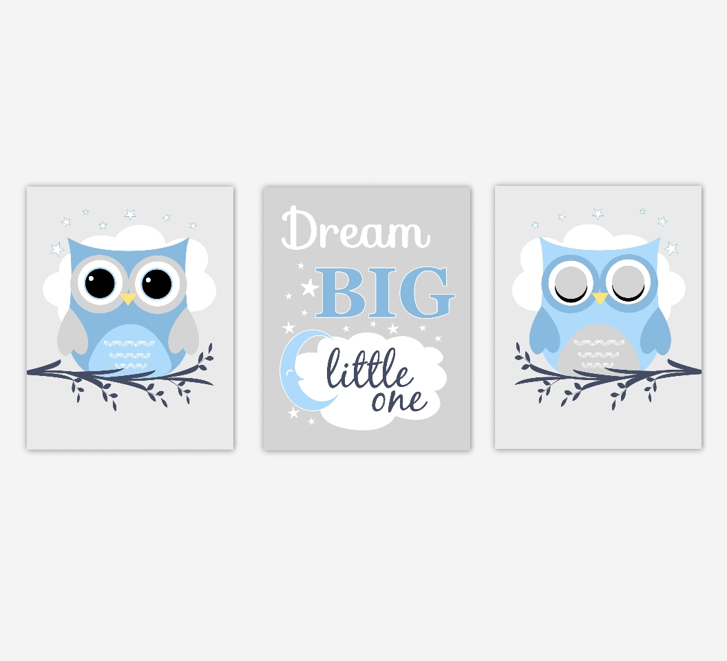 Baby Boys Nursery Canvas Wall Art Blue Gray Grey Dream Big Little With Regard To Best And Newest Nursery Canvas Art (View 7 of 20)