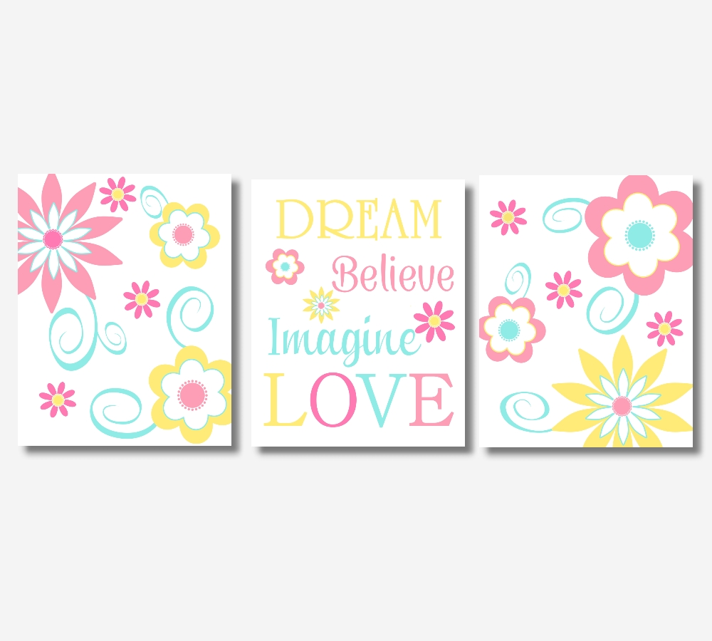 Baby Girl Canvas Nursery Wall Art Pink Yellow Teal Aqua Modern Throughout Most Recently Released Girls Canvas Wall Art (View 6 of 20)