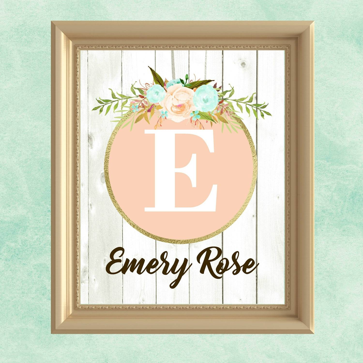 Baby Girl Nursery Wall Art Peach Mint Gold Nursery Decor Intended For Recent Personalized Nursery Wall Art (View 7 of 20)
