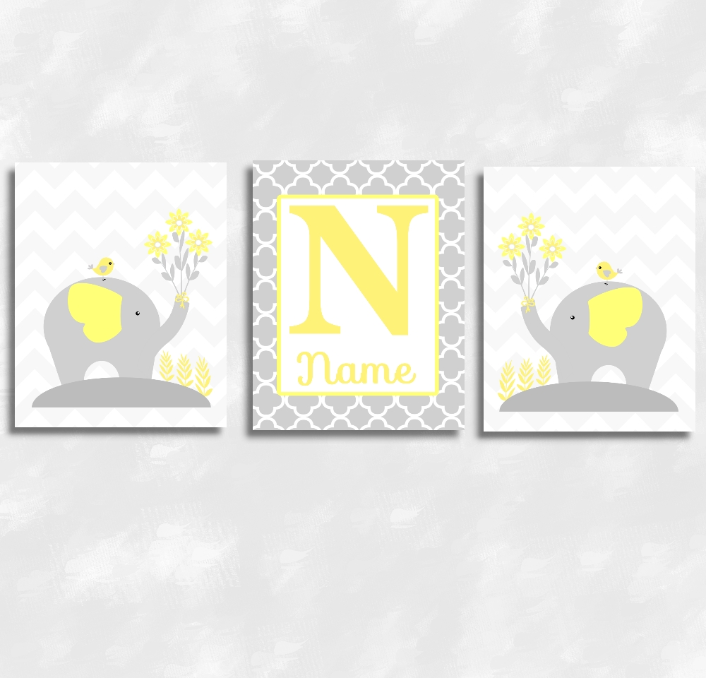 Baby Girls Canvas Nursery Wall Art Yellow Gray Grey Elephants In Most Popular Yellow And Grey Wall Art (View 2 of 25)