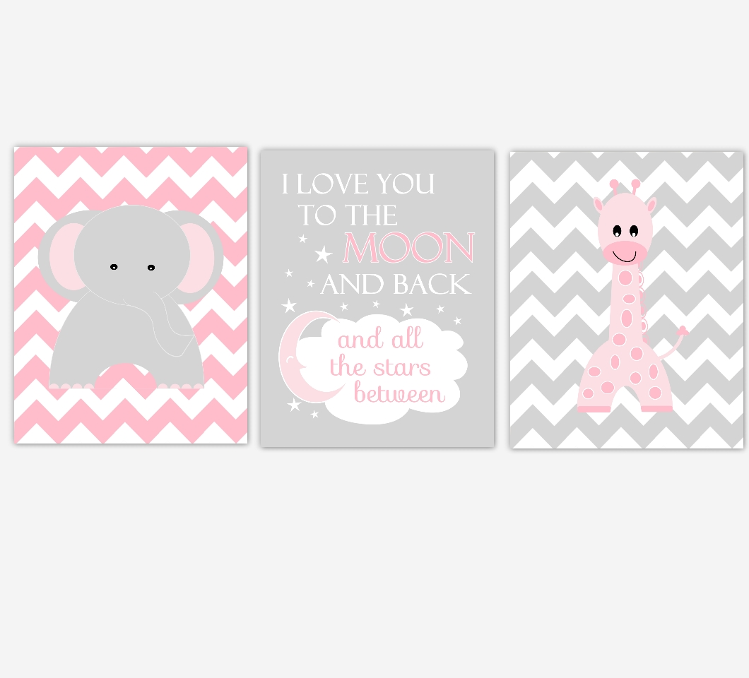 Baby Girls Nursery Canvas Wall Art Pink Gray Grey I Love You To For Most Recently Released Canvas Prints For Baby Nursery (View 9 of 20)