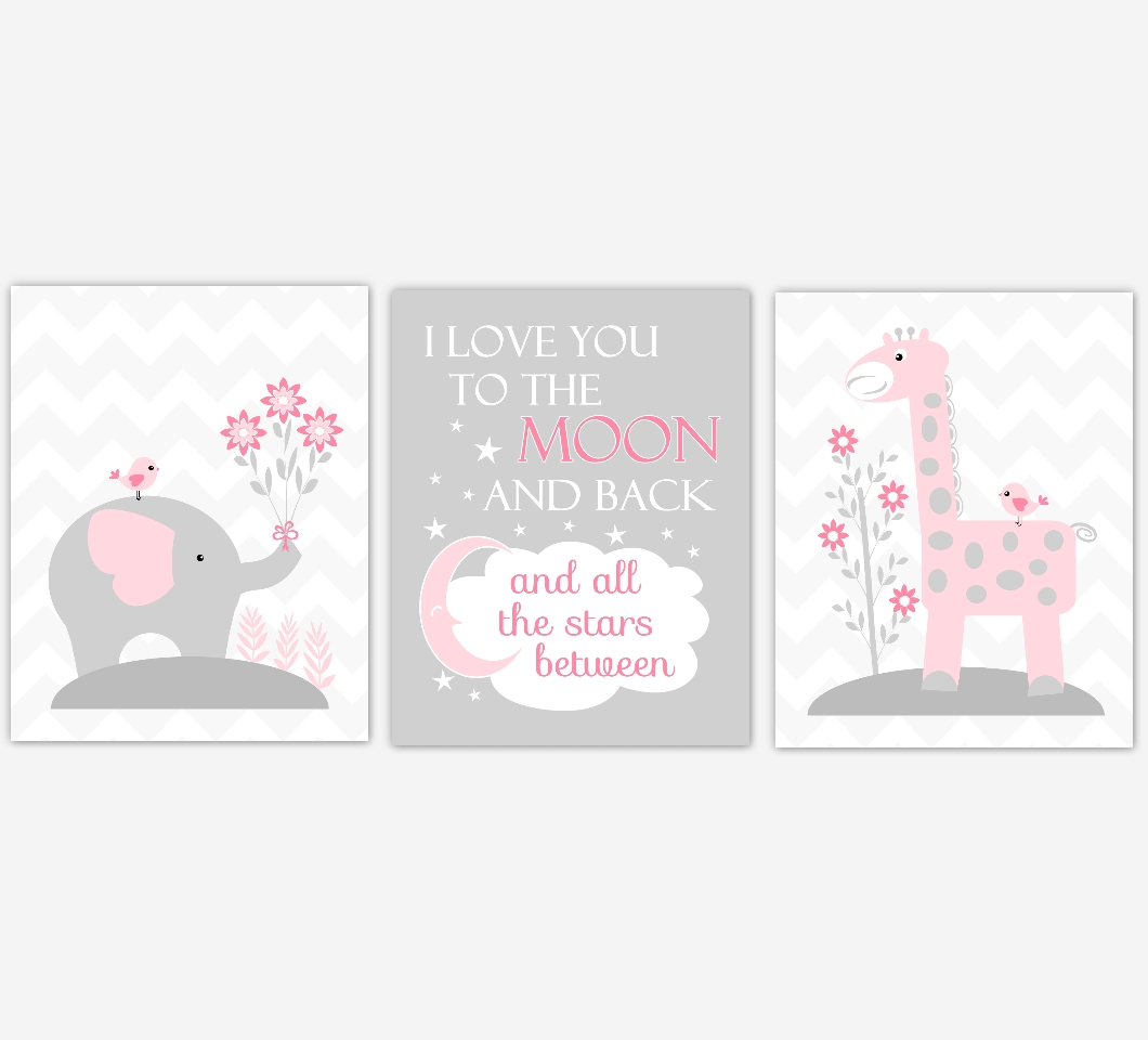 Baby Girls Nursery Canvas Wall Art Pink Gray Grey I Love You To Intended For Most Current Girls Canvas Wall Art (View 8 of 20)