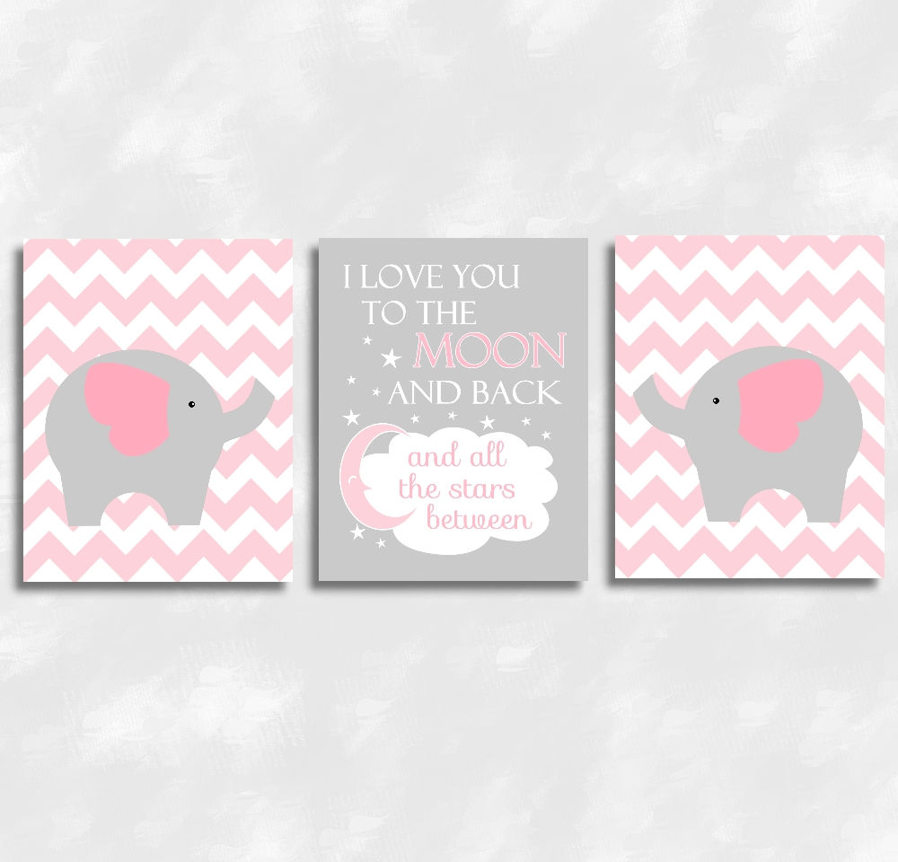 Baby Girls Nursery Canvas Wall Art Pink Gray Grey I Love You To With 2017 Wall Art For Girls (View 11 of 20)