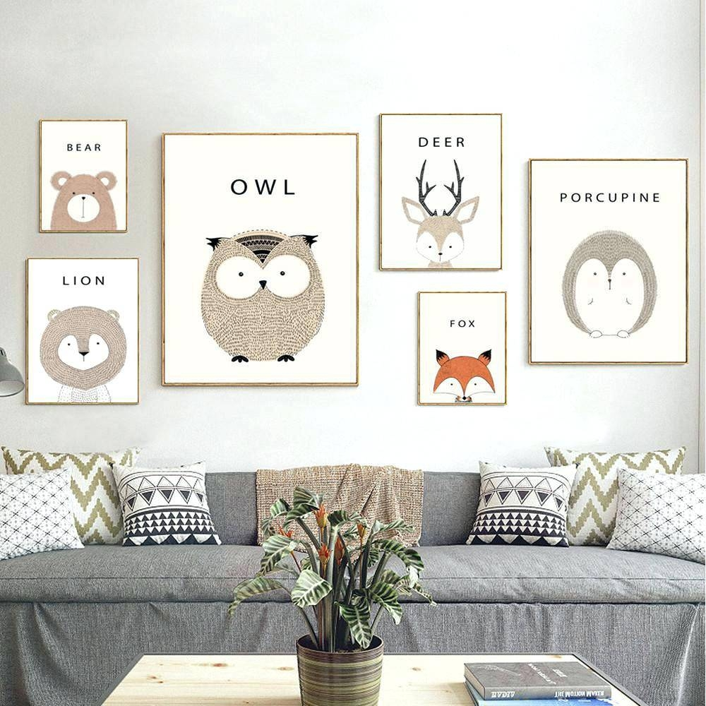 Baby Nursery Framed Wall Art Nursery Art Prints Owl Cartoon With Regard To Most Popular Owl Framed Wall Art (View 7 of 20)