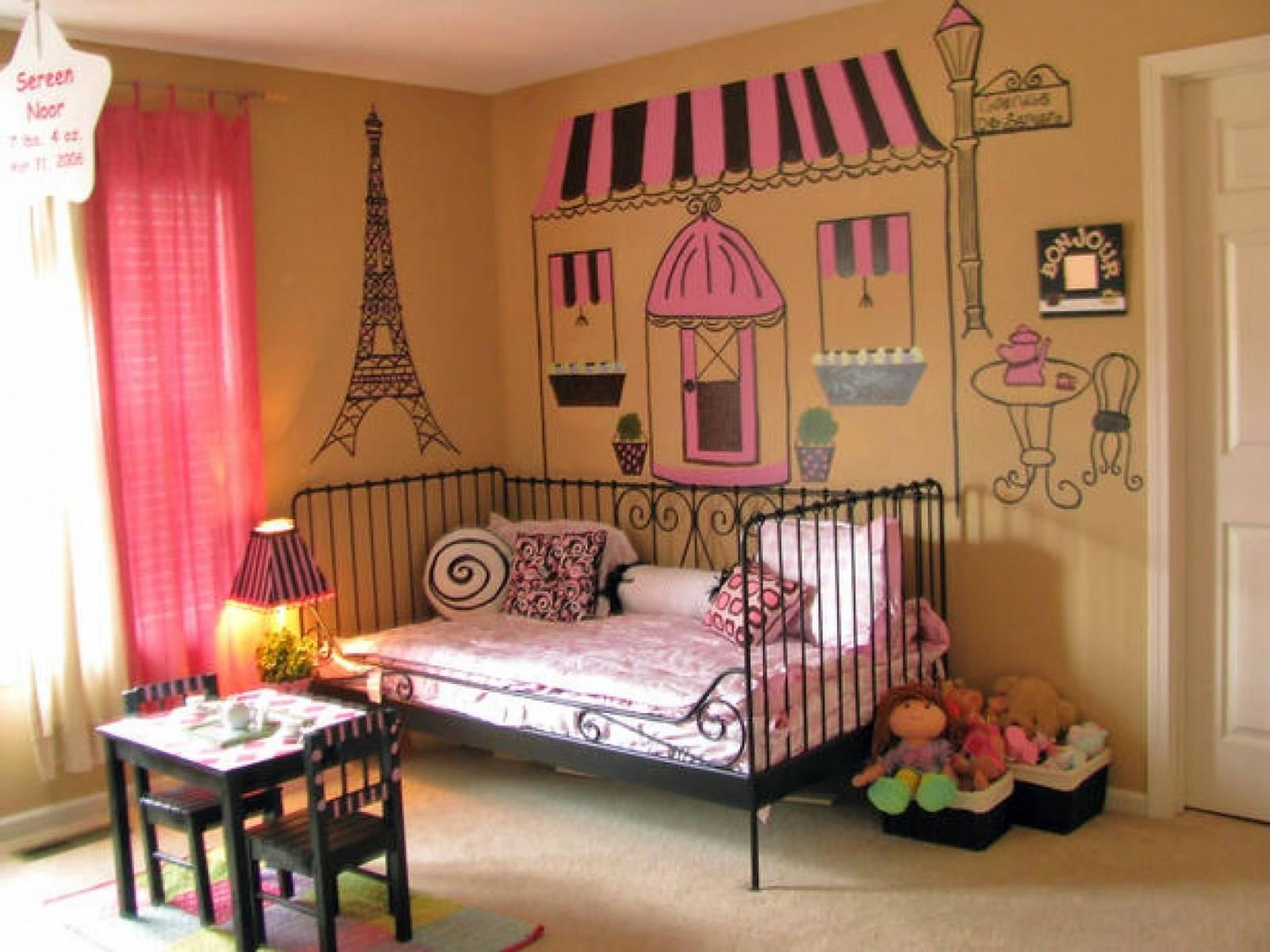 Baby Nursery Sweet Girls Room Ideas With Tree Wall Art Paint Inside 2017 Paris Theme Nursery Wall Art (View 6 of 30)