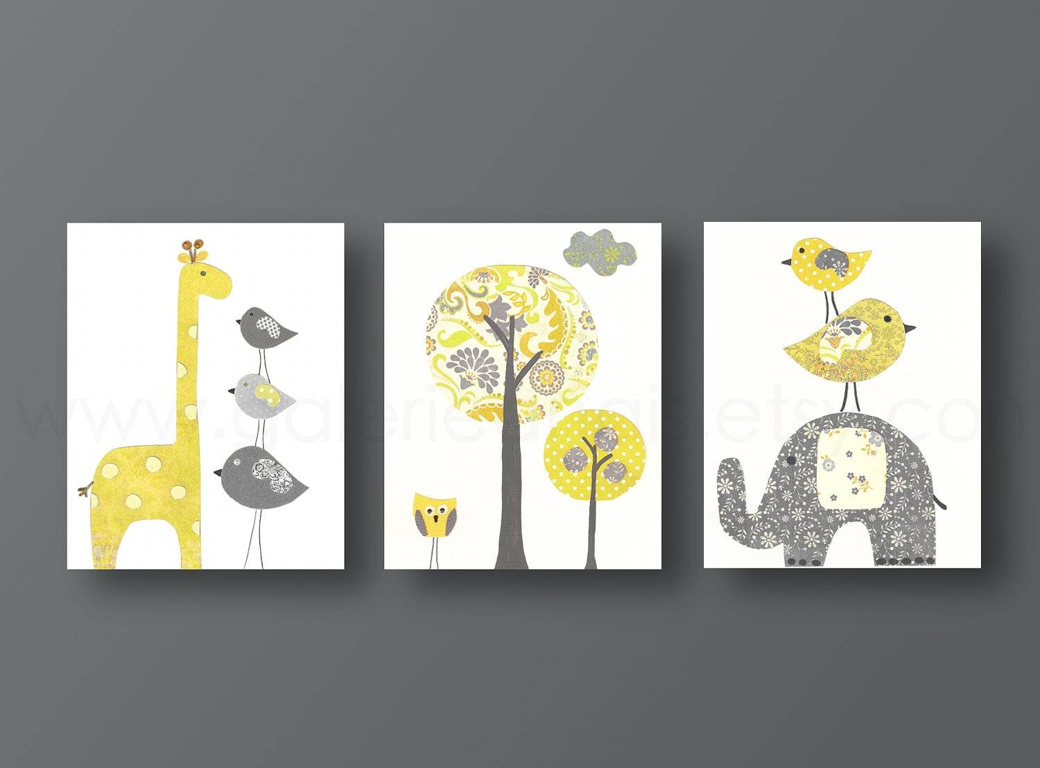 Baby Nursery. Wall Art Decorations For Baby Nursery: Yellow Theme With Regard To Newest Gray And Yellow Wall Art (Gallery 19 of 20)