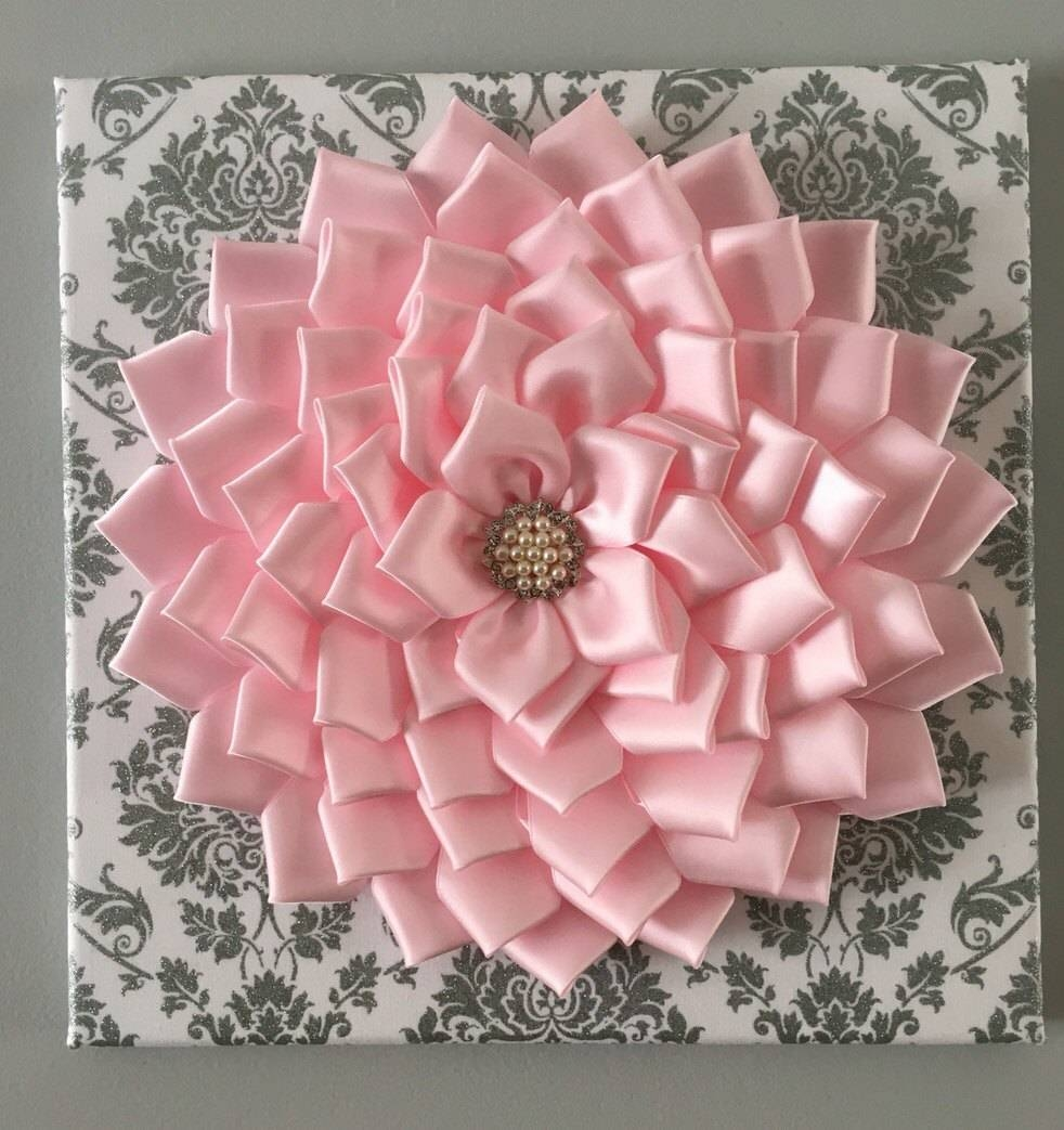 Baby Pink Kanzashi Flower Damask Wall Art 12X12 For Most Recently Released Pink Flower Wall Art (View 4 of 20)