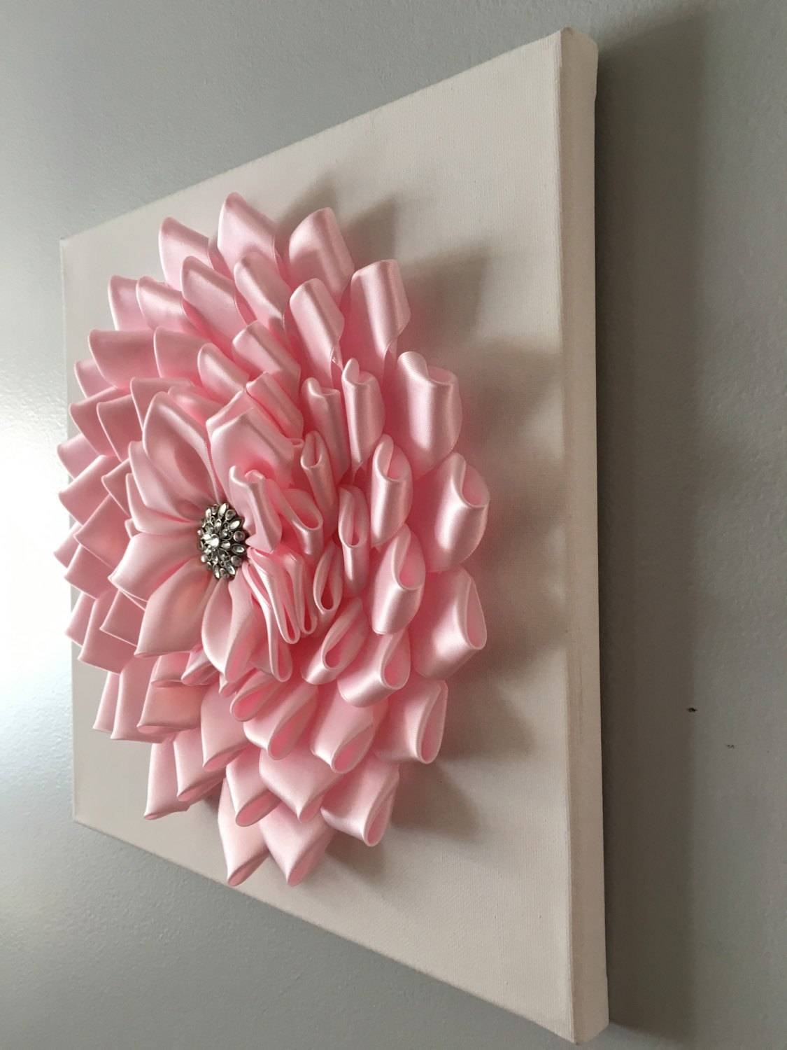 Baby Pink Kanzashi Flower Wall Art 12X12 With Best And Newest 3D Wall Art Canvas (View 9 of 20)